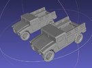 1/144 Humvee Cargo (Dual Pack) in White Strong & Flexible Polished