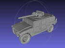1/144 Humvee with Bushmaster (Single Pack) in White Strong & Flexible Polished