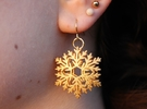 Snowflake Earrings in Polished Gold Steel