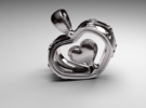 Heart in the Heart pendant v.2 in Premium Silver