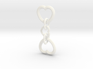 Heart to Heart Keychain in White Strong & Flexible Polished