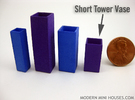 Tower Vase Short 1:12 scale in White Strong & Flexible Polished