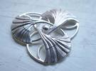 Ginkgo Brooch  in Raw Silver