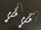 USB Computer Symbol Earrings for geeks and techies in Metallic Plastic
