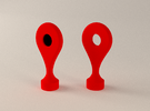 Google Maps Marker - Magnet 2 in Red Strong & Flexible Polished