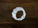 Turk's Head Knot Ring 6 Part X 9 Bight - Size 7 in White Strong & Flexible