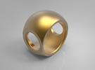 RING SPHERE 1 - SIZE 7 in Polished Gold Steel