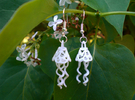 Earrings Dew Bell  in White Strong & Flexible