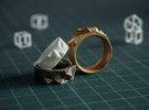 Triangulated Ring - 19mm in White Strong & Flexible Polished
