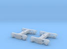 1 Pair TT Scale Roller Bearing Trucks in Frosted Ultra Detail