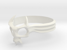 Skull Mask Ring -v2 in White Strong & Flexible