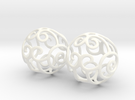 Filigree Sphere EARRINGS  in White Strong & Flexible Polished