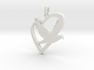 Love & Peace Pendant in White Strong & Flexible