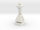 Typographical Queen Chess Piece in White Strong & Flexible