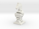 Typographical Knight Chess Piece in White Strong & Flexible