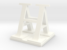 Two way letter / initial A&H XL in White Strong & Flexible Polished