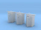 N-Scale Slant Roof Outhouse (3-Pack) in Frosted Ultra Detail