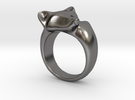 Fox Ring (size 7) in Polished Nickel Steel