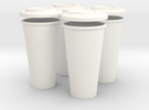 BJD Doll Coffee House Cup and Lid - Set of 4 in White Strong & Flexible Polished