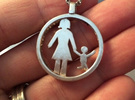 Mothersday Pendant mother and child in Raw Silver