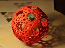 Islamic star ball with 11-pointed stars in Red Strong & Flexible Polished