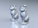 Cat Earrings in Polished Grey Steel