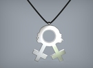 Sexy Lesbian Symbol Pendant in White Strong & Flexible