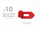 Multipack x10 Clip-it EU Lightning edition in Red Strong & Flexible Polished