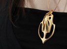 Xin Pendant (#1478) in Polished Gold Steel
