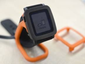 Charging dock for Pebble Time, Steel and Round in Orange Strong & Flexible Polished