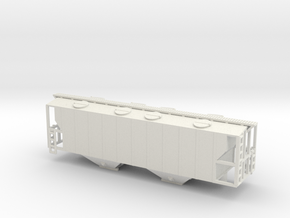 100ton Two Bay Covered Hopper WSF - Nscale in White Strong & Flexible