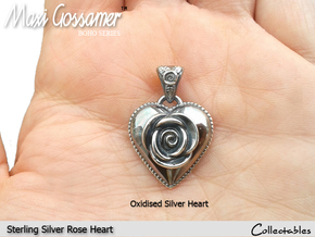 SILVER HEART ROSE in Polished Silver