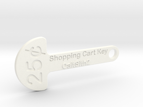 Quarter Shopping Cart Key in White Strong & Flexible Polished