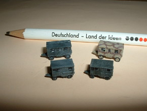 German Wehrmacht Trailers Set 1 1/285 6mm in Frosted Ultra Detail