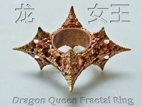 Dragon Fractal Ring 21mm in Raw Bronze