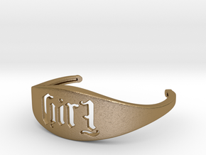 Bangle Evil Girl 180 Rotational Ambigram 01 in Polished Gold Steel