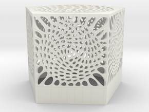 Voronoi penta lampshade in White Strong & Flexible