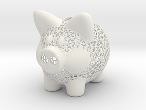Peak A Boo Piggy Bank 2 Inch Tall in White Strong & Flexible