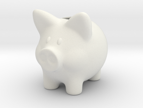 Piggy Bank Smooth 2 Inch Tall in White Strong & Flexible