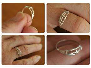 Torsades - A Triple Twisted Ring in Raw Silver