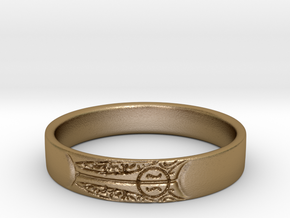 King's Ring, Size 8.5 in Polished Gold Steel