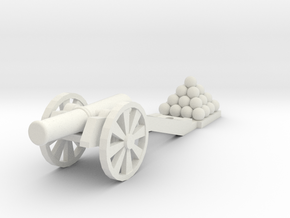 Cannon (Heavy) -  HO 1:87 scale in White Strong & Flexible