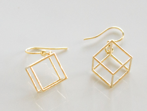 Cube earrings in Polished Brass