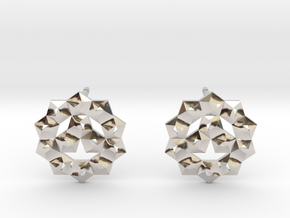 Faceted Circle Earring in Rhodium Plated