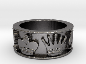 Chess Ring Size 7 in Polished Nickel Steel