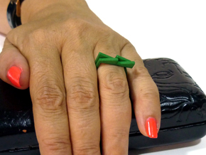 Adjustable ring. Basic set 3. in Green Strong & Flexible Polished