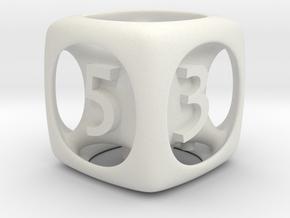 Fred's D6 6-sided Die  in White Strong & Flexible