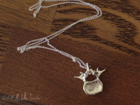 Anatomical Lumbar Vertebra Pendant in Polished Silver