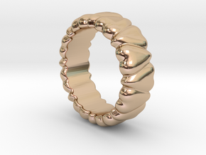 Ring Heart To Heart 16 - Italian Size 16 in 14k Rose Gold Plated