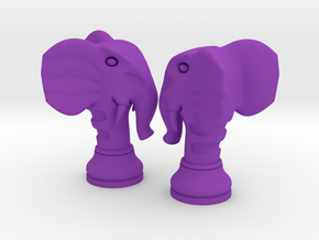 Pair Chess Elephant Big / Timur Pil Phil in Purple Strong & Flexible Polished